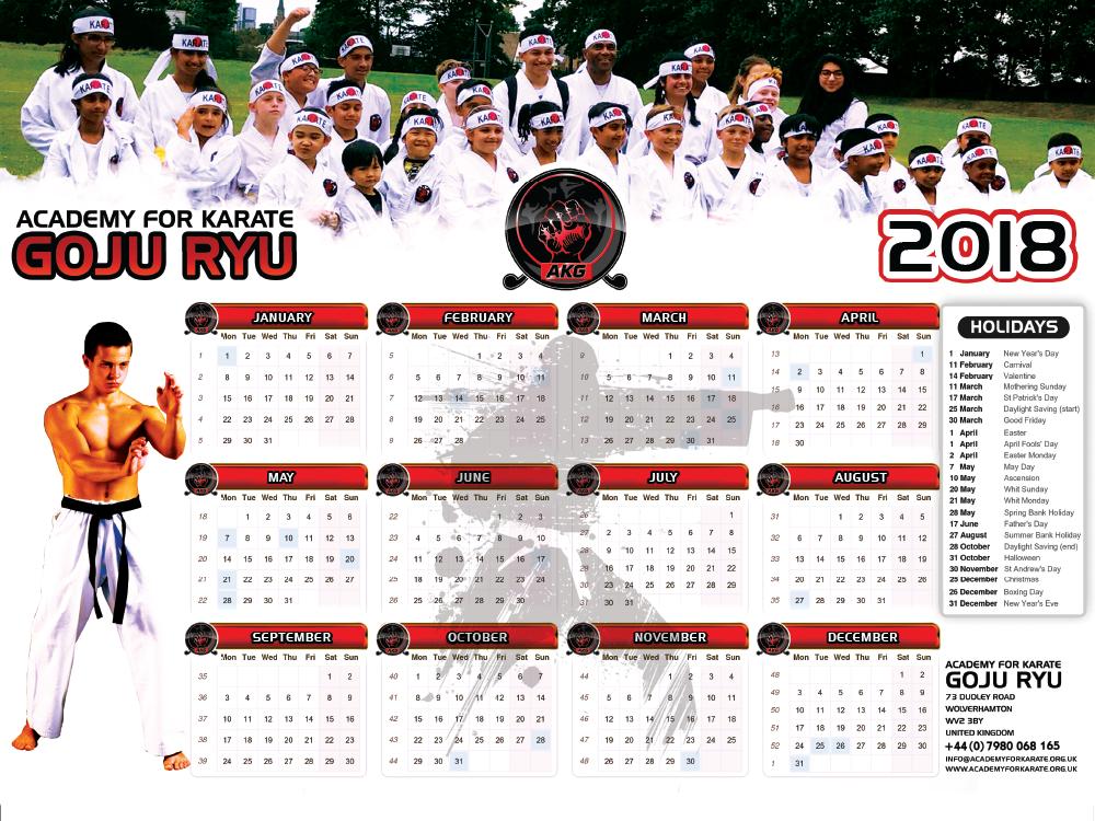 GOJU RYU Calendar